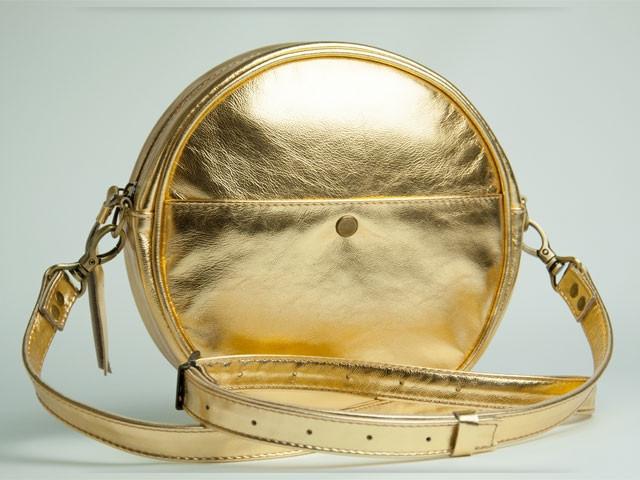 Кругла сумочка з шкіри Gold Lilu