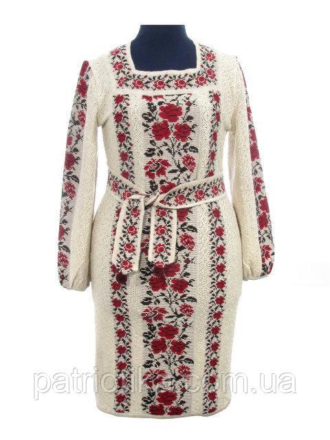 Платье вязаное женское Роза яркая рамочка | Плаття в'язане жіноче Троянда яскрава рамочка