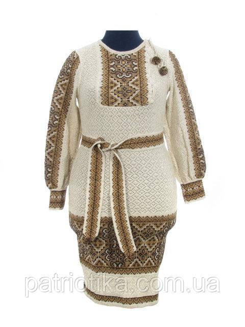 Вязаное платье Влада коричневая с вставкой | В'язане плаття Влада коричнева з вставкою