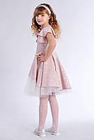 Роскошное детское платье для девочки бежевого цвета