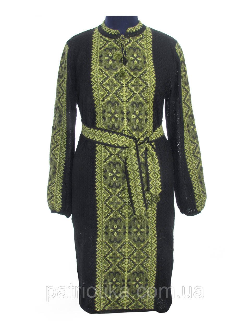 Вязаное платье черное Влада зеленая х/б | В'язане плаття чорне Влада зелена х/б