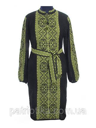 Вязаное платье черное Влада зеленая х/б | В'язане плаття чорне Влада зелена х/б, фото 2