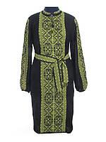 Вязаное платье черное Влада зеленая х/б   В'язане плаття чорне Влада зелена х/б