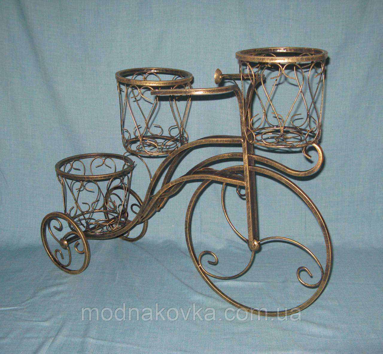 Кованая подставка для цветов Велосипед 3 высокий средний, черный с золотом