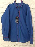 Рубашка синяя для мальчиков на рост 128-152