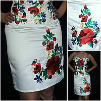 Белая атласная юбка с вышивкой, 42-48 р-ры, 460/410 (цена за 1 шт. + 50 гр.)