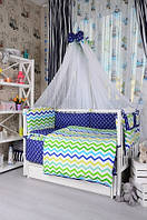 Постельное белье в детскую кроватку Bepino Польша Зигзаги/Якорьки
