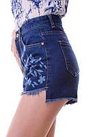Стильные женские джинсовые шорты высокая посадка асимметрия с принтом тренд 2017 года