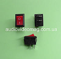 Мини кнопочный выключатель 250V 6A, 18.8 х 12.9 мм, красный