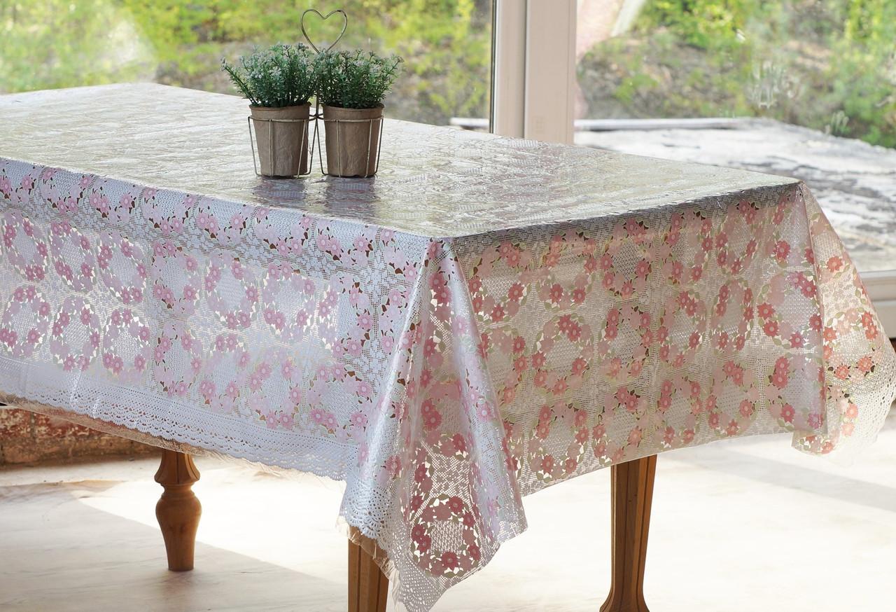 Клеенчатая скатерть на обеденный стол  Ажур Веночек нежно-розовый