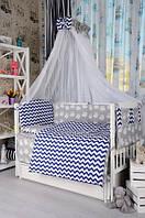 Комплект постельного белья в детскую кроватку Bepino Польша Зигзаги/Совы синие