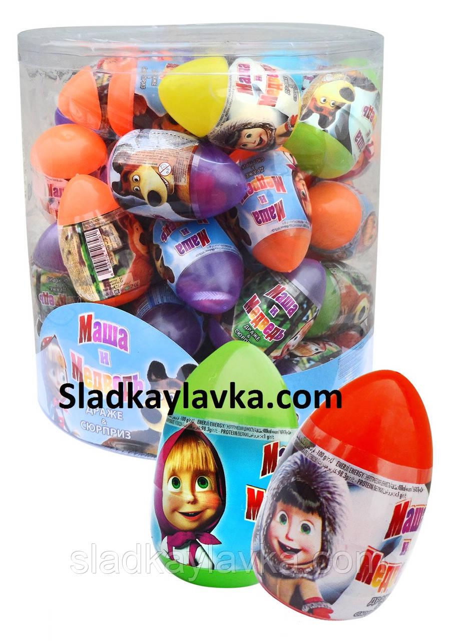 """Игрушка яйцо """"Маша и Медведь"""" сюрприз с драже 48 шт (Aras)"""