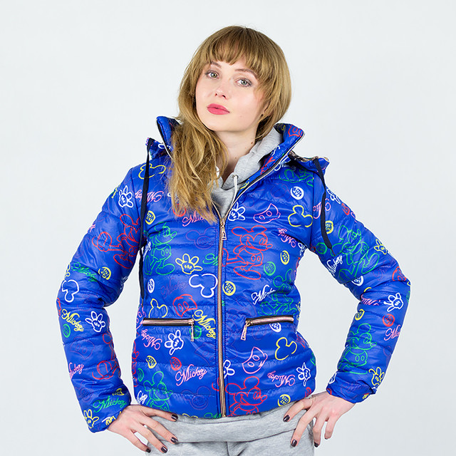 Ярко синяя женская куртка весна-осень с принтом Мики Маус