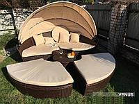 Кровать шезлонг круглая, лаунж из ротанга 210 см., фото 1