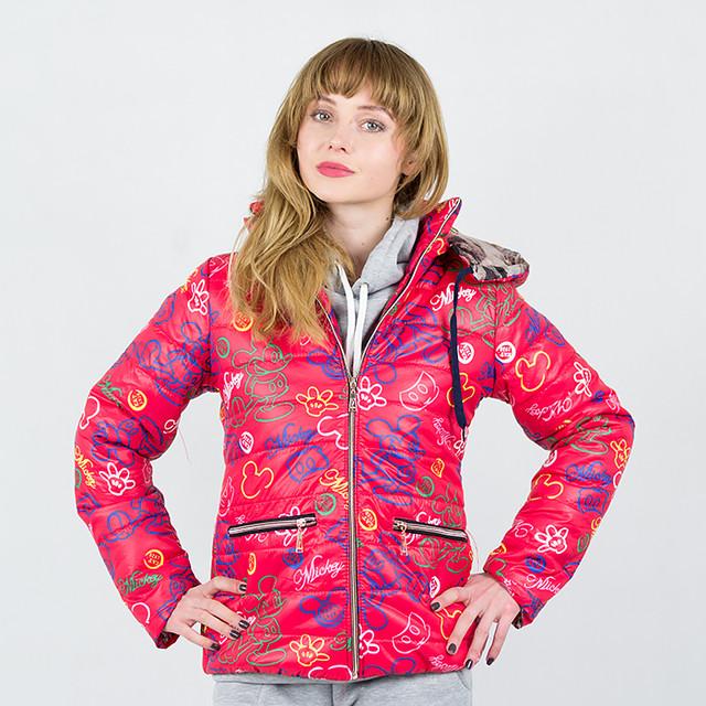 Розовые женские куртки весна-осень с принтом Мики Маус