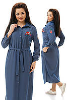 Джинсовое платье-рубашка батал