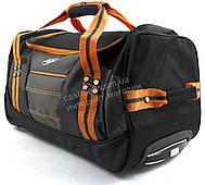 Стильная яркая вместительная удобная дорожная сумка на колесиках RUXINDA art. №2 оранжевая/черная