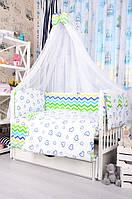 Комплект постельного белья для новорожденного Bepino Польша Зигзаги/Сердечки