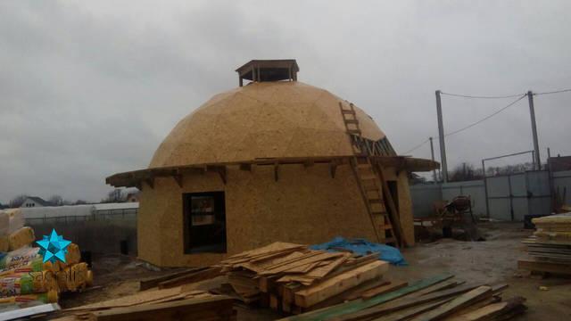 Обшивка купольного дома OSB плитой  Состояние на 15 апреля 2017
