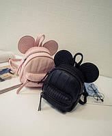 Маленький рюкзак с ушками черный, пудровый, бежевый