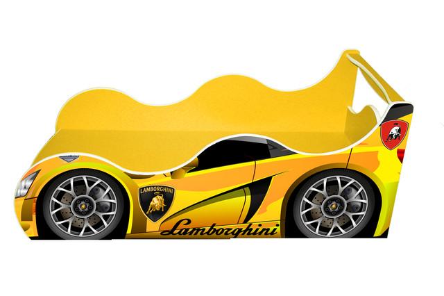 Кровать машинка Ламбо желтая