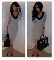 """Классическое женское миди платье, платье """"Класик"""" с открытым декольте. Разные цвета и размеры. Розница, опт."""