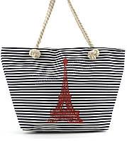 Яркая вместительная женская пляжная сумка Б/Н art. 9463 синяя полоска эйфелевая башня (100102)