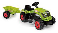 Трактор педальный с прицепом GM Claas -  Smoby - Франция -  удобное сиденье и легко поворачиваемый руль