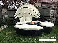 Кровать шезлонг круглая из ротанга 210 см.