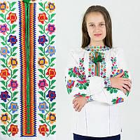 Вышиванка для девочки Радуга на домотканом полотне