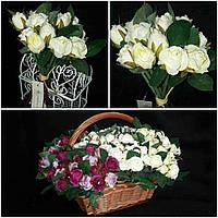 Кремовые розы в букете, выс. 17 см., 10 веток, 90/80 (цена за 1 пуч. + 10 гр.)
