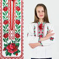 Вышиванка для девочки с малиновыми розами на домотканом полотне