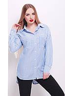 Голубая женская рубашка в белую полоску