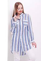 Женская летняя рубашка 100% хлопок с длинным рукавом