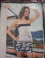 Молодежная  трикотажная пижама женская шорты и майка