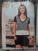 Женская трикотажная пижама шорты и футболка