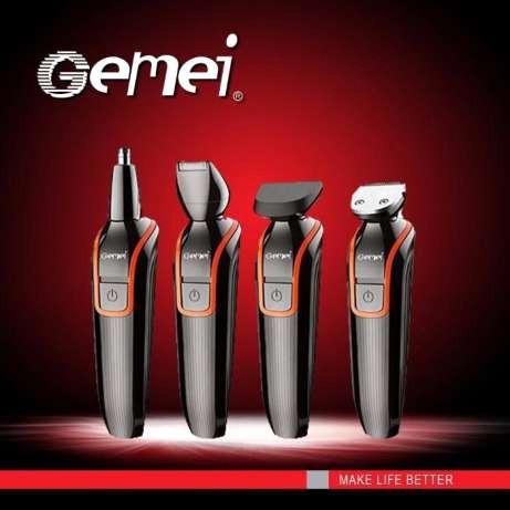 Gemei машинка для стрижки, триммер для бороди 4 в 1