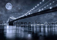 Фотообои Светящиеся Черно Белые Бруклинский Мост Городской Нью Йорк Пейжаз Пейзаж Декор Стен Дизайн Интерьера
