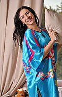 Голубое женское платье-кимоно принт-мотылек