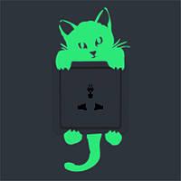Наклейка на выключатель Котёнок светящийся 3D декор