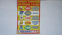 """Обучающий плакат """"Номери Телефонів Екстренних Служб!"""",680*480мм,(укр),картон ламин.Навчальний плакат """"""""Номери"""