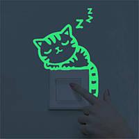 Наклейка на выключатель спящий котёнок светящийся 3D декор