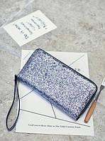 Серебристый женский клатч-кошелек