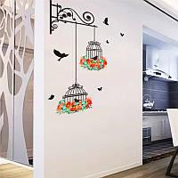 Наклейка виниловая Клетки с цветами 3D декор