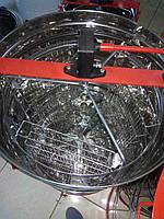 Медогонка 3-х рамочная нержавеющая РКС, поворотная, кассеты сварные нержавеющие, ротор нержавеющий