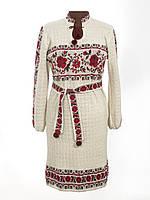Вязаное платье Роза с бутоном красная