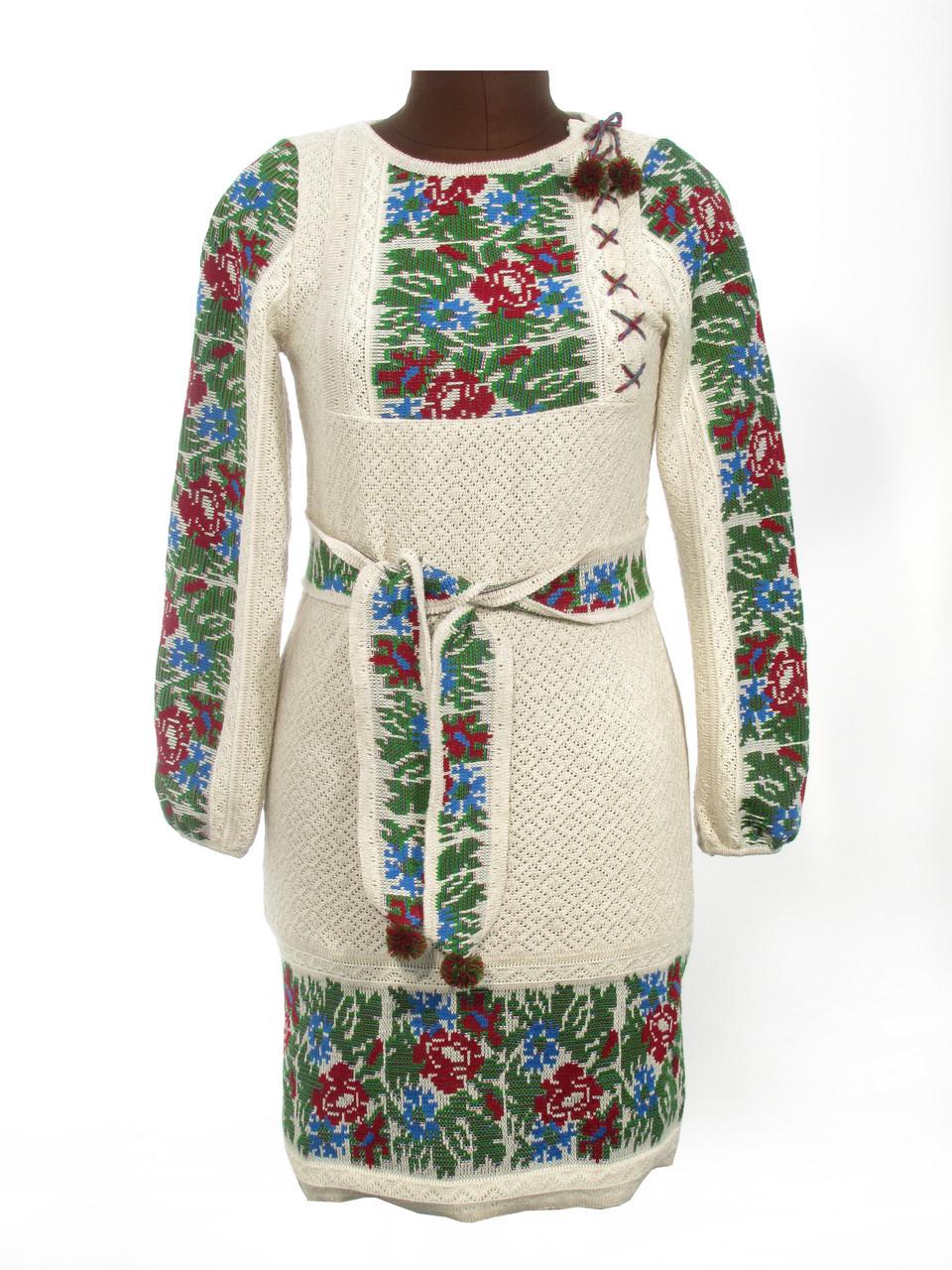 Вязаное платье Маки и васильки со вставкой
