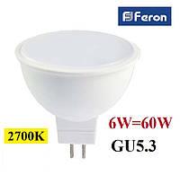 Светодиодная лампа Feron LB-716 6W GU5.3 MR-16 230V 2700K (теплый свет), фото 1