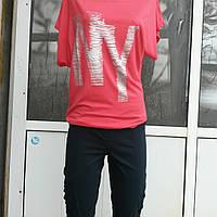 Летние женские молодежные  капри больших размеров из стреч коттона