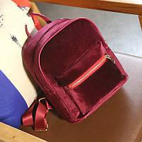 Оксамитовий жіночий рюкзак вишневого кольору, фото 1